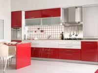 Czerwona kuchnia i fronty lakierowane