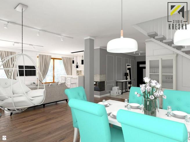 Biała jadalnia z turkusem – pomysł na nowoczesne wnętrze w stylu klasycznym
