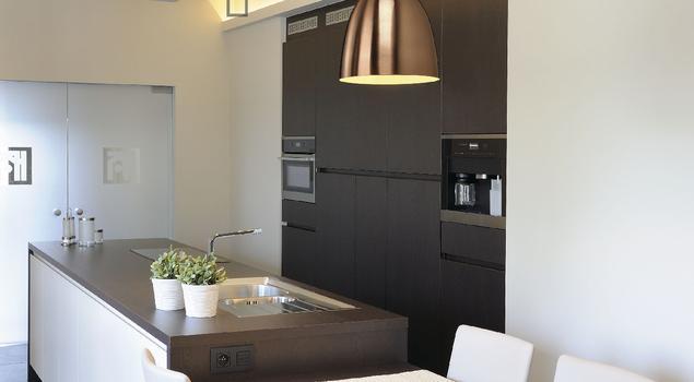 Miedziane lampy industrialne w nowoczesnej kuchni -> Kuchnia Prowansalska Miedziane Garnki